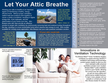 Attic Breeze solar attic fans can help you save energy and money on your summer cooling bills!