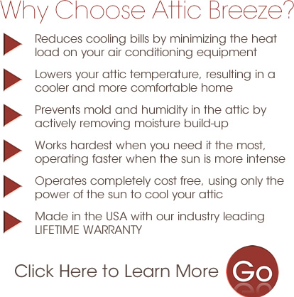 Attic Breeze solar attic fans will lower your attic temperature and make your home cooler!